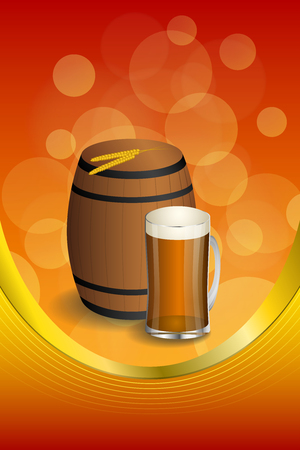 dark beer: Background abstract red barrel drink glass dark beer yellow wheat gold vertical frame illustration vector