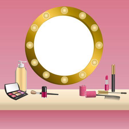 mirror frame: Background beige mirror pink cosmetics make up lipstick mascara eye shadows nail polish frame illustration vector Illustration