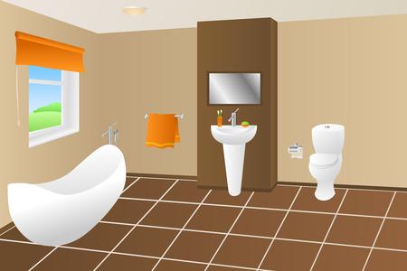 bathroom cartoon: Modern bathroom beige brown bath orange towel sink toilet window illustration vector Illustration