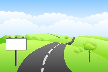 landscape road: Landscape hills summer day road billboard illustration vector Illustration