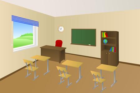 classroom: School classroom beige education table chair cabinet window illustration vector