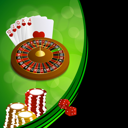 Background abstract green black casino roulette cards chips craps frame illustration vector Illustration