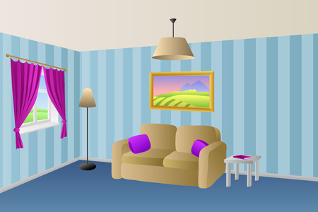 violet residential: Modern living room blue beige sofa violet pink pillows lamps window illustration vector