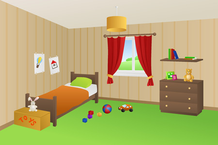 chest wall: Modern kid room beige toys green bed orange pillow window illustration vector Illustration
