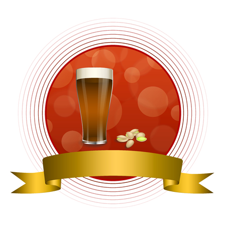 dark beer: Background abstract red drink glass dark beer pistachios gold ribbon circle frame illustration vector Illustration