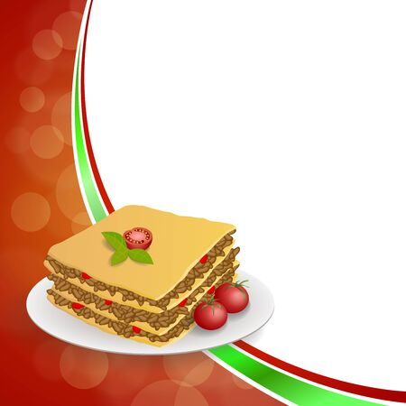 lasagna: Abstract background lasagna food meat tomato yellow green red frame illustration vector