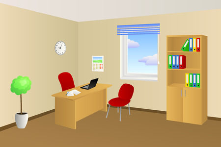 office cabinet: Office room beige table chair cabinet window illustration vector Illustration