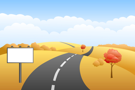 landscape road: Landscape hills autumn day road billboard illustration vector