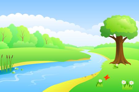 coast: River summer landscape day illustration vector