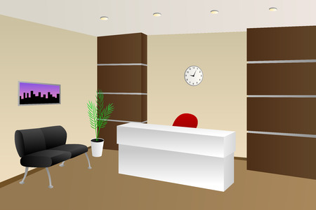 office cabinet: Interior office room reception beige chair cabinet illustration vector