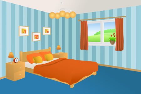 pillows: Modern bedroom interior blue orange yellow bed pillows lamps window illustration vector