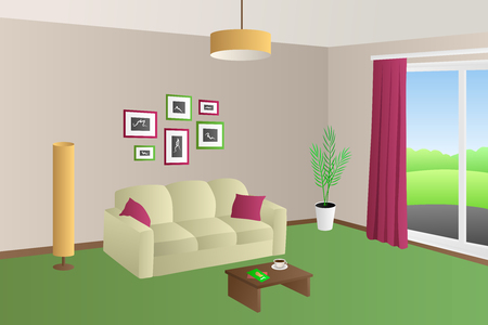 red pillows: Modern living room interior beige green sofa red pillows lamps window illustration vector Illustration