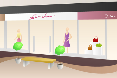 mall interior: Shopping center mall modern beige interior shop illustration vector Illustration