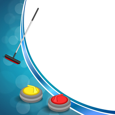 curling stone: Background abstract curling sport blue ice red yellow stone broom frame illustration vector