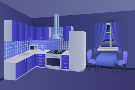 modern kitchen interior: Modern kitchen interior room night blue table chair window illustration vector