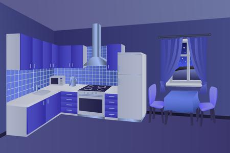 #49699523   Moderne Küche Innenraum Nacht Blau Tisch Stuhl Fenster  Illustration Vektor