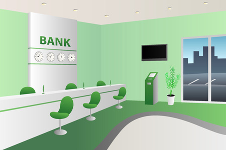 bank interior: Interior bank room white reception green chair illustration vector