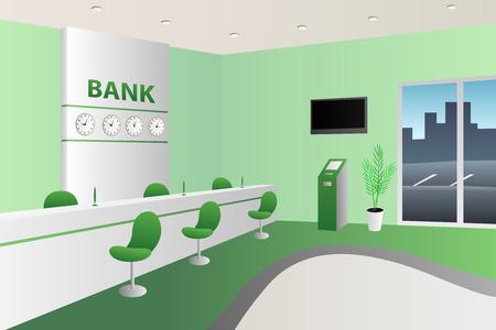 Sitio interior del banco de recepción blanco silla verde ilustración vectorial Foto de archivo - 49699524