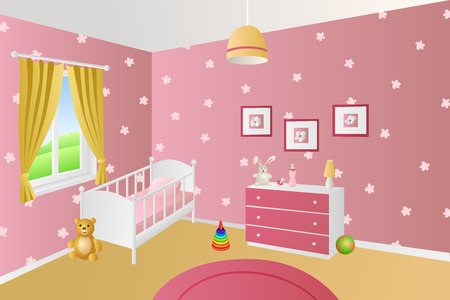 chest wall: Modern interior baby room pink toys white bed window illustration vector