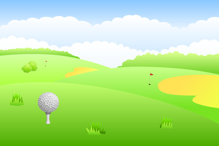 pied: Landscape golf course green grass background illustration vector Illustration