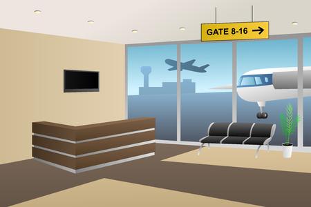 airport sign: Interior airport inside reception beige brown illustration vector
