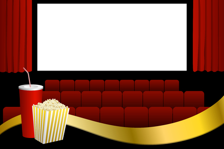 cinema screen: Cinema red seats white blank screen drink popcorn gold ribbon illustration vector
