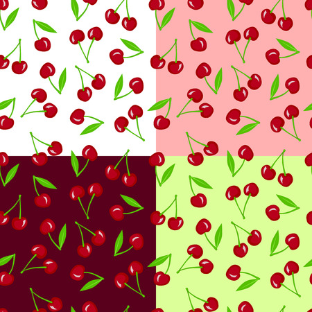 pink and green: Cherry berry seamless pattern red pink green illustration vector