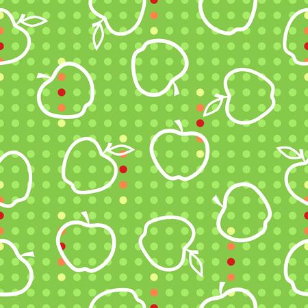 red' green: Apple fruit seamless pattern red green white illustration vector