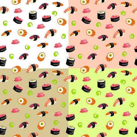 cartoon space: Sushi rolls seamless pattern illustration vector Illustration