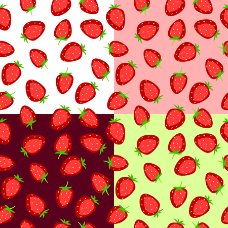 cartoon strawberry: Strawberry seamless pattern red pink green illustration vector