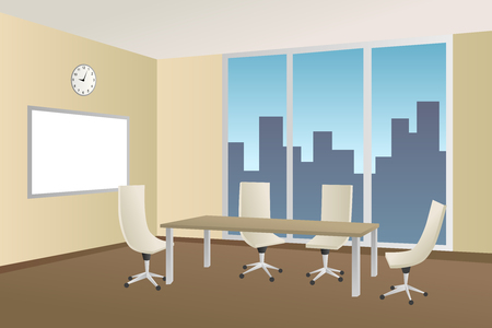 empty office: Office meeting room beige table chair window illustration vector Illustration