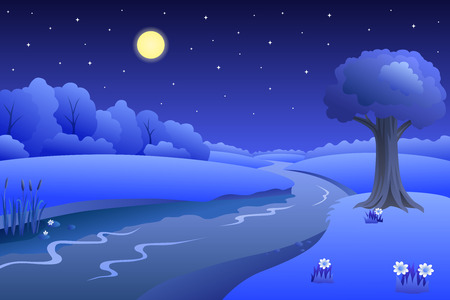 cartoon land: River summer landscape night illustration vector