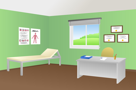 office chair: Doctor office clinic room illustration vector