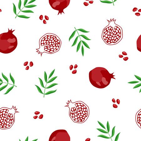 ザクロ果実のシームレスなパターン赤緑イラスト