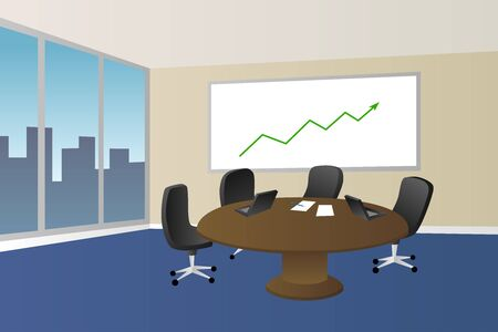 empty table: Office meeting room beige blue table chair window illustration vector