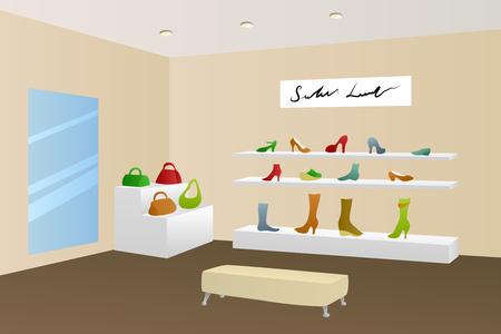 shopping center interior: Shoe shop shopping center mall modern beige interior illustration vector