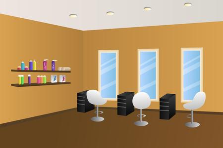 hairdressing salon: Hairdressing salon orange interior room illustration vector