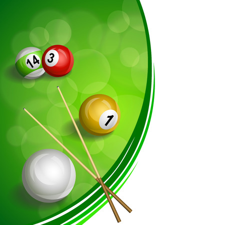 cue: Background abstract green billiard pool cue red yellow white ball illustration vector