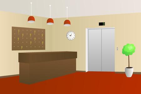 Hotel lobby reception interior illustration vector  イラスト・ベクター素材
