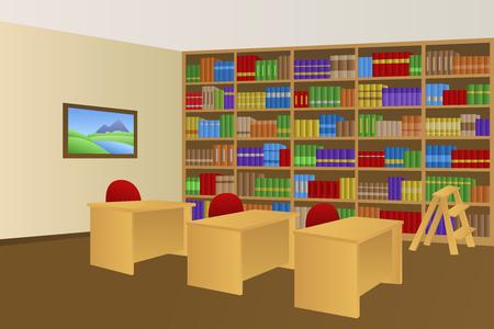 ライブラリ ルーム ベージュ インテリア テーブル椅子イラスト  イラスト・ベクター素材