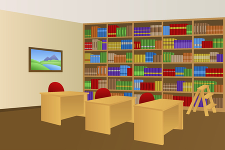 library shelf: Library room beige interior table chair illustration vector