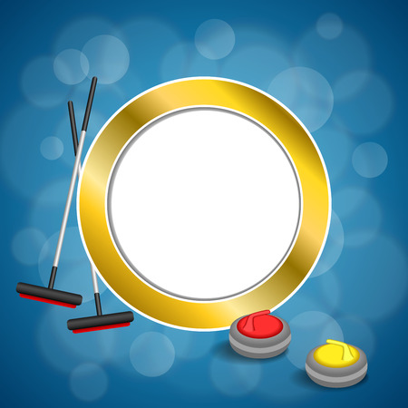 curling stone: Background abstract curling sport blue ice red yellow stone broom gold circle frame illustration vector Illustration