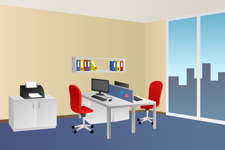 empty office: Office room blue beige interior white table red chair window illustration vector Illustration