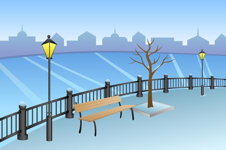 winter park: Landscape embankment city winter day river bench lamp illustration vector Illustration