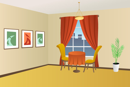 Restaurant interior table chair window illustration vector