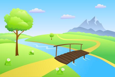 butterfly tree: Bridge river summer landscape day illustration vector Illustration