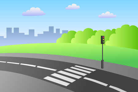 senda peatonal: Paso de peatones por carretera Paisaje del d�a de verano ilustraci�n vectorial