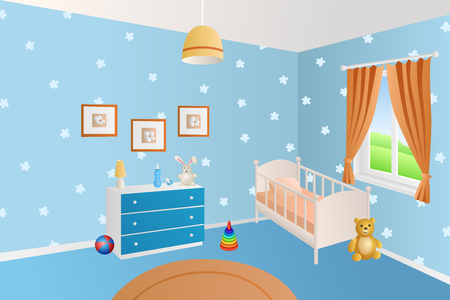residential house: Modern interior baby room blue toys white bed window illustration vector
