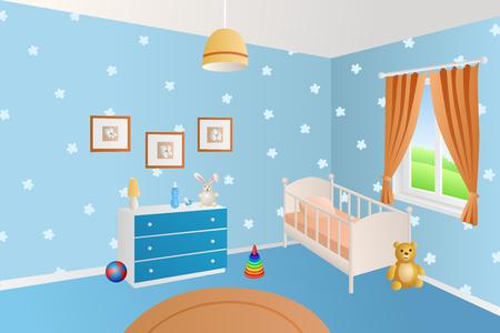 Modernes jouets bleus de la chambre de bébé intérieur lit blanc fenêtre Illustrations