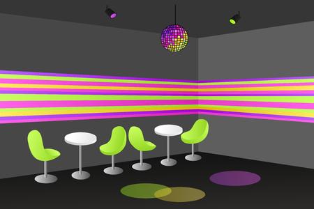 disco background: Night club disco interior table chair illustration vector Illustration